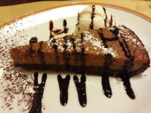 Cake de patata con caramelo y ganache