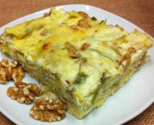 Lasaña de calabacín, queso y champiñones
