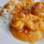 Langostinos en salsa de piña con arroz basmati